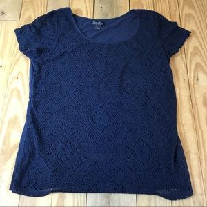 Lucky Brand | Crochet Knit Short Sleeve top Navy
